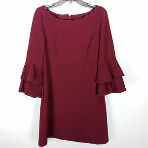 Chelsea 28 Burgundy Ruffle Bell Sleeve Dress